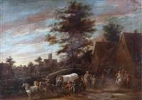 un convoi traversant un village by lambert de hondt