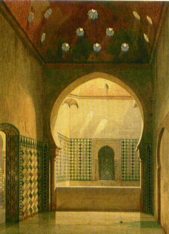 Los Baños De La Alhambra By Eduard K.f. Gerhardt