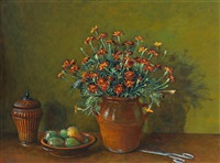 marigolds and prickly pears by margaret hannah olley