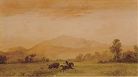 hunter on horseback with charging bull by henry hitchings