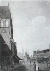 a view of the st. bavo church in haarlem with the raadhuis beyond by jan ten compe