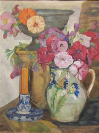 still life with candlesticks and flowers by cecilia cutescu storck