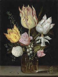 tulips, roses, bluebells, narcissus tortuosis, forget-me-nots, lily of the valley and cyclamen in a flask on a stone ledge with a caterpillar... by ambrosius bosschaert the elder