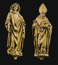two reliefs of st. nicholas and st. john the evangelist (attributed to the workshop of riemenschneider) (2 works) by tilman riemenschneider