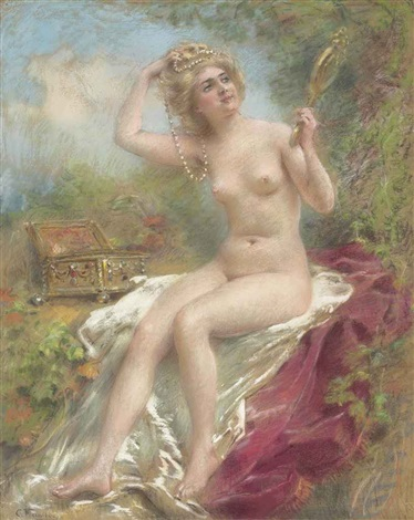seated nude looking in a mirror by konstantin egorovich makovsky