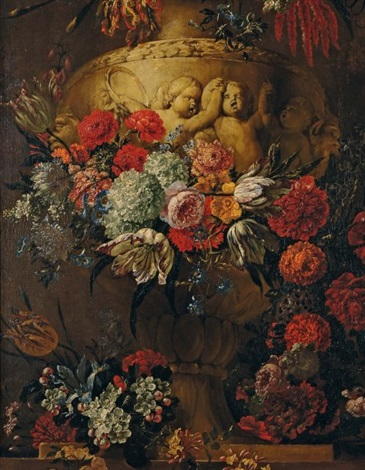 bouquet de fleurs sur un entablement by gaspar pieter verbrüggen the elder