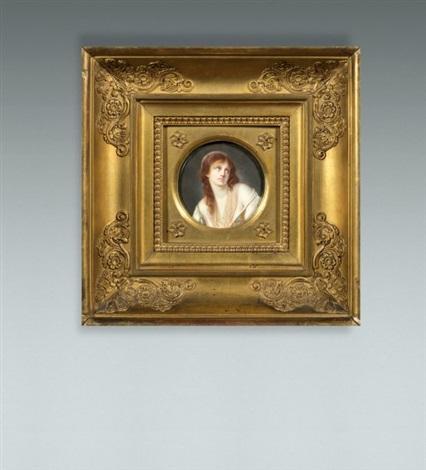 portrait de jeune fille en robe blanche et bleue dénudée et pensive by pierre louis bouvier