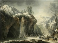 a rocky winter landscape with elegant figures in a horse-drawn carriage by francesco foschi