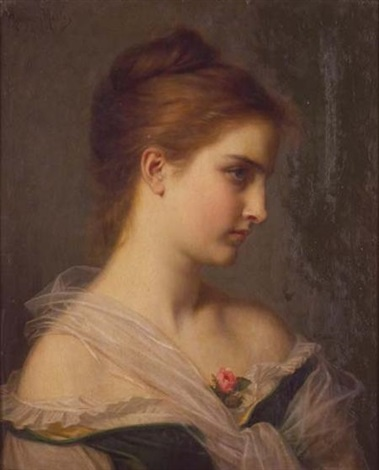 portrait of a young woman by hugues merle