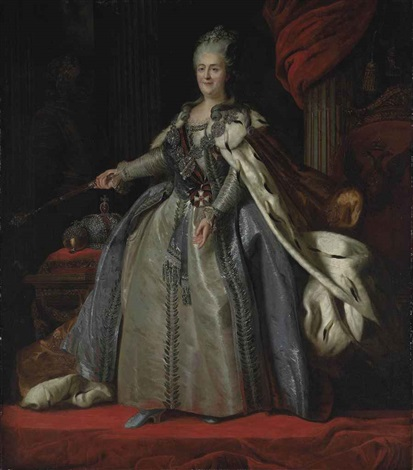 portrait of catherine the great empress of russia in robes of state standing before a draped column by fedor rokotov and alexander roslin
