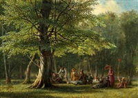 forest scenery with cheerful people by david monies