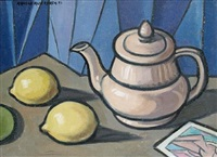 still life with teapot and lemons by arnold auerbach