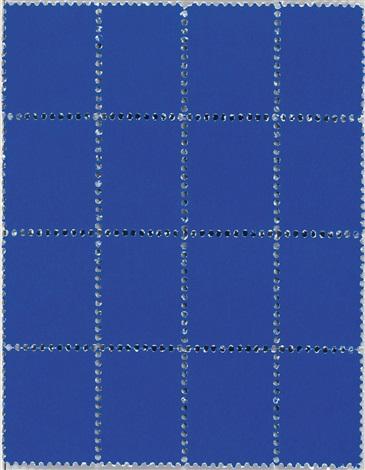 suite de seize timbres bleus by yves klein
