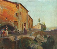 scenery from anticoli corrado with women working by max nathan