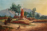 sizilianische landschaft bei palermo mit wegkreuz und staffage by ludwig (georg l.) vogel