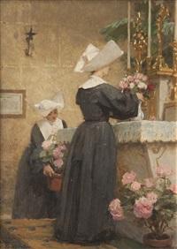 deux religieuses décorant un autel by louis emile adan