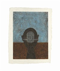 cabeza sobre fondo azul by rufino tamayo