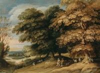 bewaldete flußlandschaft mit hirten und einer ziegenherde by alexander keirincx