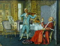 religious figure with a musician by maurice joron