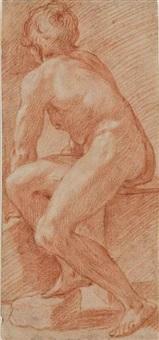 académie d'homme nu assis, vu de dos by cavaliere giovanni baglione
