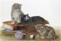 three kittens playing with balls of thread by bessie bamber