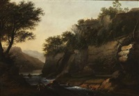 a wooded river landscape with fishermen by william marlow