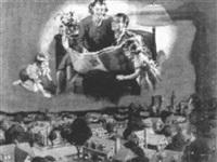 family reading newspaper, nightime city scene by frank s. bensing