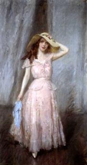 jeune femme à a robe rose by cazzaniga
