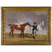 "lord rous's racehorse ""shrapnell"", with his trainer, dixon boyce, and jockey, william arnull up by benjamin marshall"