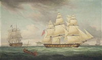 a flagship of the blue squadron and a merchantman in the channel off dover by thomas whitcombe
