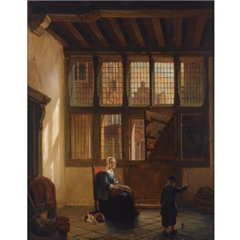 mother and child playing top in an interior by hubertus van hove