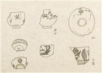 three drawings by kenkichi tomimoto