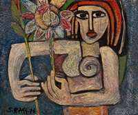 nude woman with flower by samir rafi