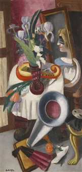 stilleben mit grammophon und schwertlilien (still-life with gramophone and irises) by max beckmann