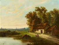 bauernkaten am ufer by charles hippolyte andre
