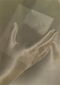 etude (double exposure of hand and bugatti) by maurice tabard