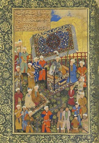 the wazir pleads for the life of the young bandit, nasta'liq by mahmud muzahhib