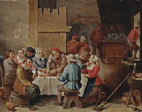 peasants eating and drinking in an interior by abraham teniers