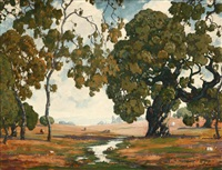 oak trees in a landscape with grazing cattle by charles l.a. smith