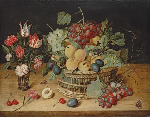 carnations, tulips and other flowers in a glass vase with peaches, grapes by isaac soreau