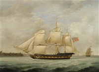 an east indiaman off southampton water by robert dodd