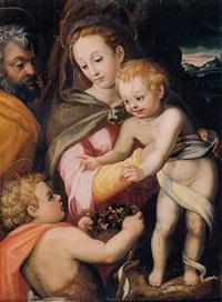 the holy family with saint john the baptist by francesco del brina