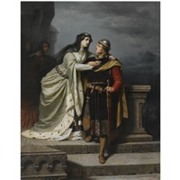 queen guinevere bidding farewell to sir lancelot by emil teschendorff