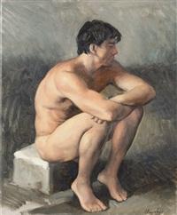 crouching figure barcelona by john shmidt