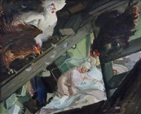 chickens roosting in rafters as woman tries to sleep (illus. for argosy) by john gannam