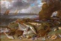 poissons sur le rivage et arrière plan marin by jan van kessel and willem ormea