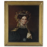 portrait of a lady with ribbon bonnet, dove-colored glove and fan by john sherburne blunt