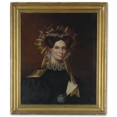 portrait of a lady with ribbon bonnet dove colored glove and fan by john sherburne blunt