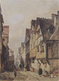 a town view by gustave adolphe simonau