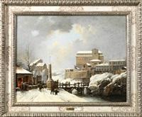 vue de la cathédrale d'assise sous la neige by jules cesar denis van loo